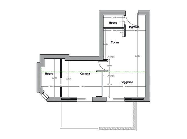 Architetto online progetto bilocale arredo di interni for Progetto casa piccola