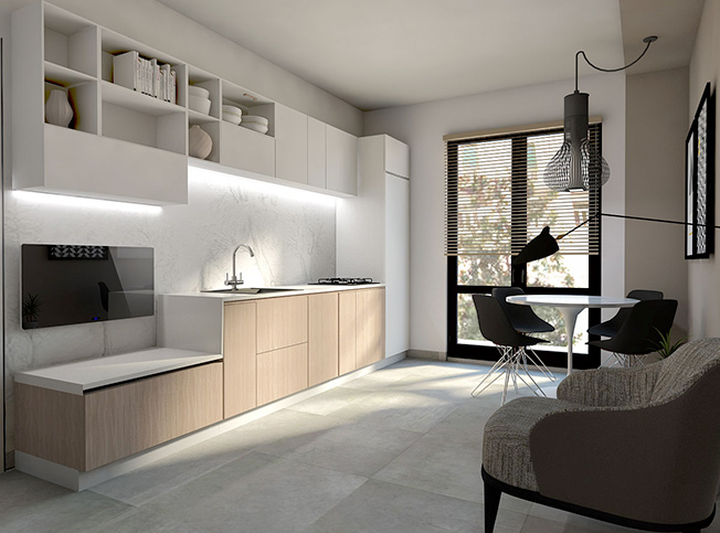 Architetto online progetto piccolo open space moderno arredi di interni - Open space cucina soggiorno moderno ...