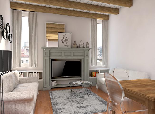 Architetto online | Progetto soggiorno shabby chic | Arredi ...